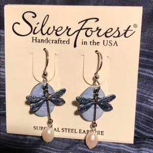 Silver Forest dragon fly earrings. Never worn.
